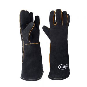 Guantes de horno,HUAFA Cuero resistente al calor guantes para hornear,guantes de barbacoa, guantes para hornear para cocinar,adecuado para cocina, microondas, parrilla-1 Par(Negro)