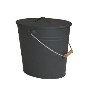 Kamino-Flam 333252 - Cubo para cenizas (forma ovalada, 24 L, 23,5 x 22,5 x 43,5 cm), color gris antracita
